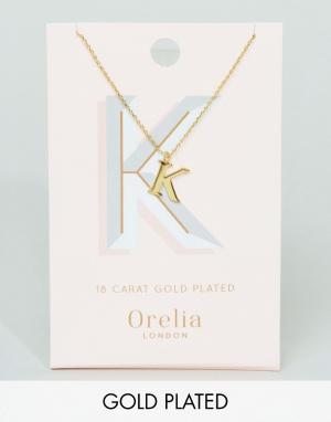 Orelia Позолоченное ожерелье с подвеской в виде буквы K. Цвет: золотой