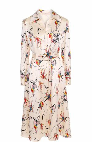 Шелковое платье с ярким принтом и поясом Tory Burch. Цвет: разноцветный
