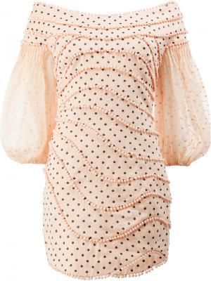 Короткое платье в горох Zimmermann. Цвет: розовый и фиолетовый