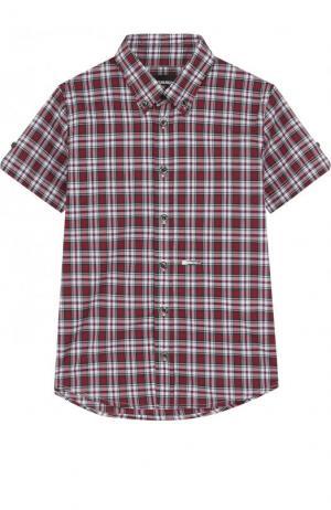 Хлопковая рубашка с принтом и воротником button down Dsquared2. Цвет: красный