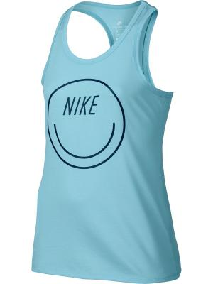 Топ G NK DRY TANK SMILEY Nike. Цвет: голубой