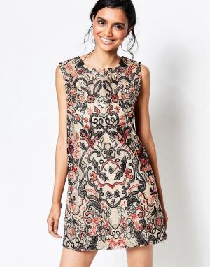 Ganni Бежевое цельнокройное платье City Hall. Цвет: бежевый