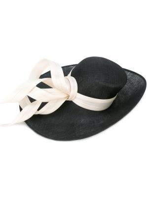 Шляпа с контрастной лентой Philip Treacy. Цвет: чёрный