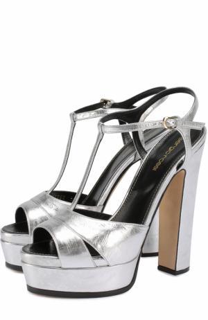 Босоножки из металлизированной кожи на высоком каблуке и платформе Sergio Rossi. Цвет: серебряный