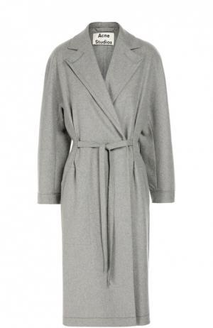 Шерстяное пальто с поясом и широкими лацканами Acne Studios. Цвет: серый