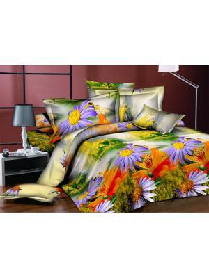 Комплект постельного белья Ля Мур. Цвет: зеленый, фиолетовый, оранжевый