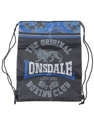 Сумка-рюкзак для обуви Lonsdale. Цвет: темно-серый, голубой