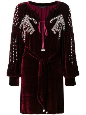 Бархатное платье-туника с отделкой Wandering. Цвет: красный