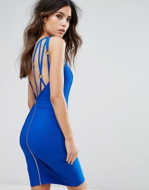 Wow Couture Бандажное платье с ремешками. Цвет: синий