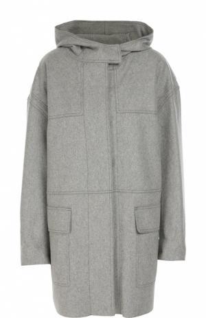 Шерстяное пальто с капюшоном Isabel Marant Etoile. Цвет: серый