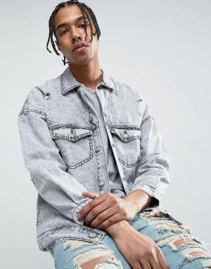 Sixth June Свободная джинсовая куртка с эффектом кислотной стирки и потертостями. Цвет: серый