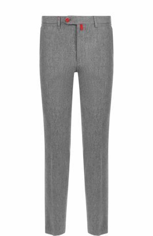Шерстяные брюки прямого кроя Kiton. Цвет: серый