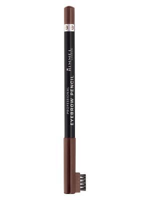 Карандаш д.бр. с щеточкой rimmelprofessional eyebrow pencil, тон 001 Rimmel. Цвет: коричневый