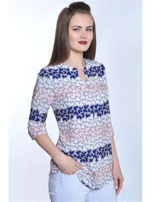 Блузка RISE. Цвет: бежевый,белый,темно-синий