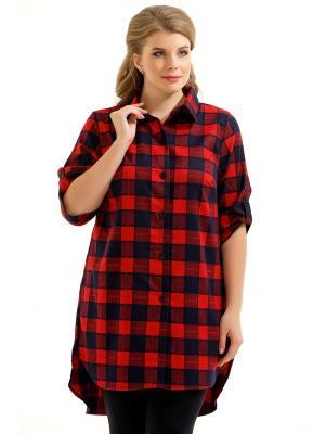 Рубашка Maria. Цвет: красный, синий