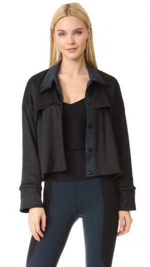 Куртка с круглым накладным элементом LIVE THE PROCESS. Цвет: голубой