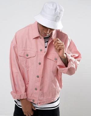 ASOS Розовая джинсовая оверсайз-куртка. Цвет: розовый