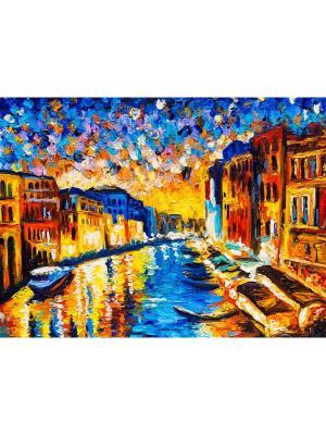 Картина Венеция канал ночь Ecoramka. Цвет: синий, коричневый, лазурный