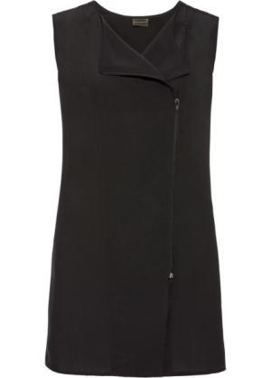Шифоновая жилетка в стиле оверсайз (черный) bonprix. Цвет: черный