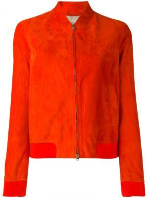 Кожаная куртка-бомбер Herno. Цвет: жёлтый и оранжевый