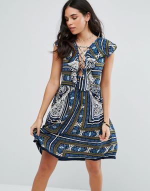 Raga Платье мини с принтом Riviera. Цвет: темно-синий