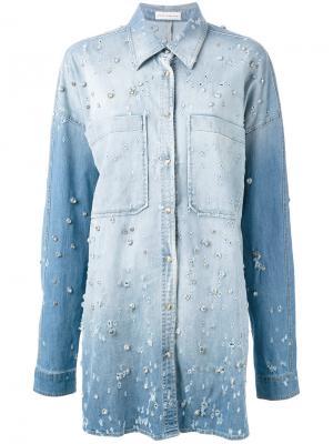 Декорированная джинсовая рубашка Faith Connexion. Цвет: синий