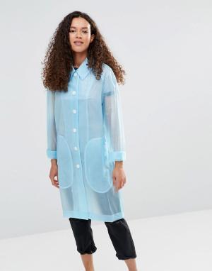 YMC Голубой полупрозрачный дождевик. Цвет: синий