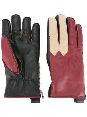 Перчатки лоскутного кроя Addict Clothes Japan. Цвет: красный