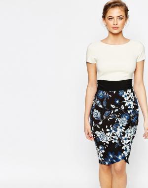 Closet London Платье-футляр 2 в 1 с короткими рукавами. Цвет: мульти