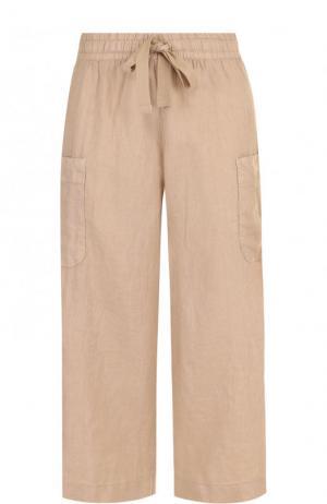 Укороченные льняные брюки с эластичным поясом Deha. Цвет: бежевый