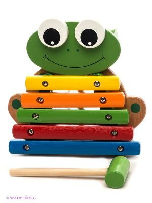 Ксилофон Лягушонок, 5 тонов ЗАТЕЙНИКИ. Цвет: зеленый