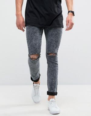 Loyalty & Faith Черные зауженные джинсы с эффектом кислотной стирки и рваной отделкой. Цвет: черный