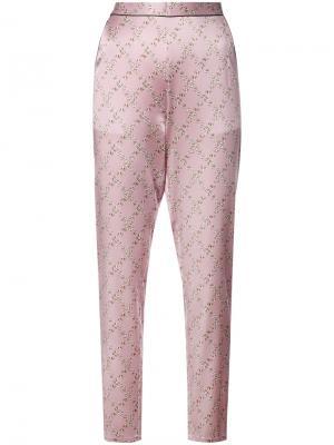 Пижамные брюки с контрастной строчкой Fleur Du Mal. Цвет: розовый и фиолетовый