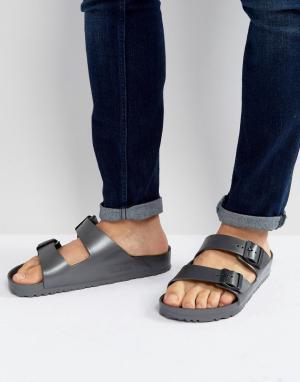 Birkenstock Темно-серые сандалии с эффектом металлик Arizona Eva. Цвет: серый