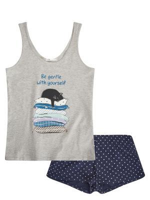 Пижама Oodji. Цвет: светло-серый