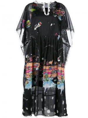 Платье шифт с принтом животных Tsumori Chisato. Цвет: чёрный
