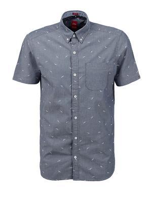 Рубашка S.OLIVER. Цвет: темно-серый, темно-синий