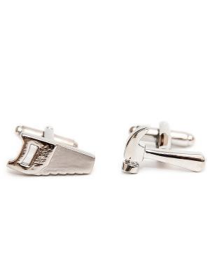 Запонки инструменты - молоток и пила Churchill accessories. Цвет: серебристый