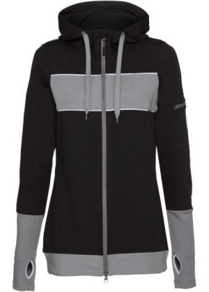 Спортивная куртка с длинным рукавом (черный) bonprix. Цвет: черный