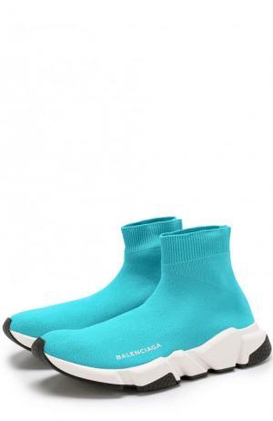 Текстильные кроссовки Speed Trainer Balenciaga. Цвет: бирюзовый