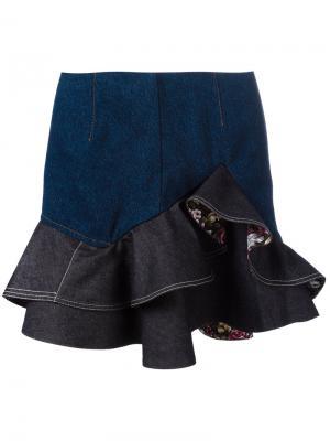 Джинсовая мини юбка с оборками Alexander McQueen. Цвет: синий