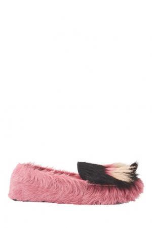 Меховые лоферы Prada. Цвет: розовый