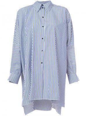 Удлиненная полосатая рубашка Martin Grant. Цвет: зелёный