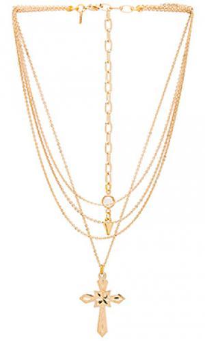 Ярусное ожерелье с крестиком valeria Vanessa Mooney. Цвет: металлический золотой