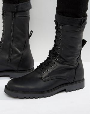 Zign Кожаные ботинки в стиле милитари на шнуровке. Цвет: черный