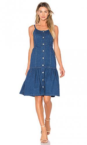 Длинное платье с наборными бретельками SUNO. Цвет: синий