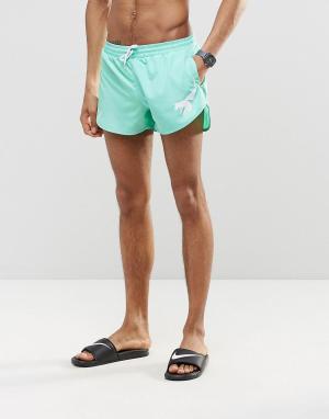 Abuze London Короткие шорты для плавания цвета морской волны. Цвет: зеленый