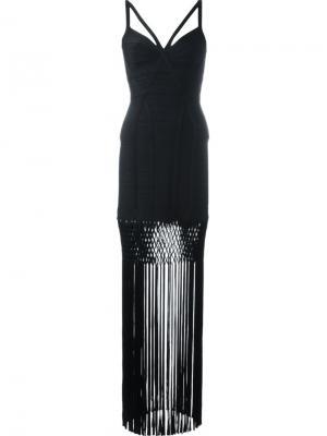 Приталенное платье с бахромой Hervé Léger. Цвет: чёрный
