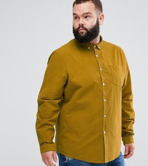 ASOS Фактурная рубашка классического кроя с нагрудным карманом PLUS. Цвет: желтый