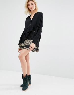 Gat Rimon Мини-юбка с вышивкой Inta. Цвет: черный